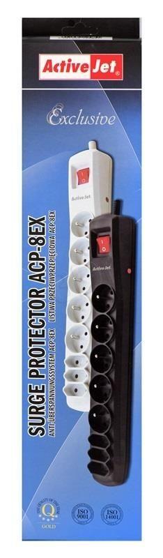 ActiveJet Listwa zasilająca przepięciowa ACP-8EX (8szt. gniazd czarny 3m)