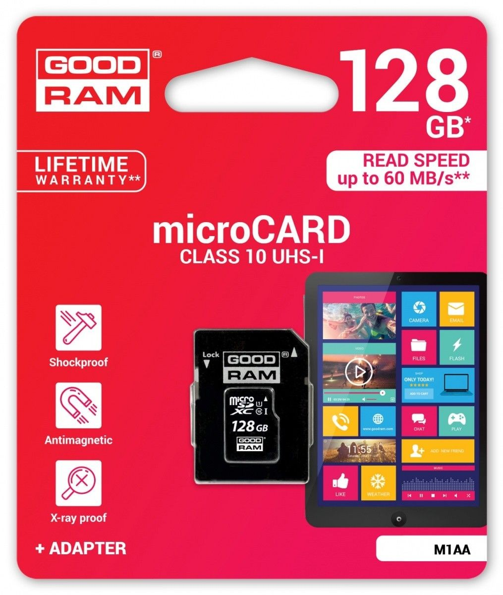 GoodRam microSD 128GB CL10 UHS I + adapter