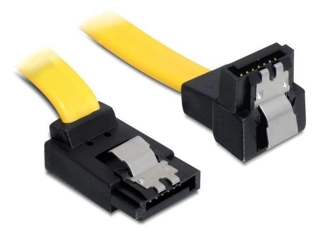 DeLOCK kabel SATA 6 Gb/s kątowy góra/dół metal. zatrzaski 30cm żółty
