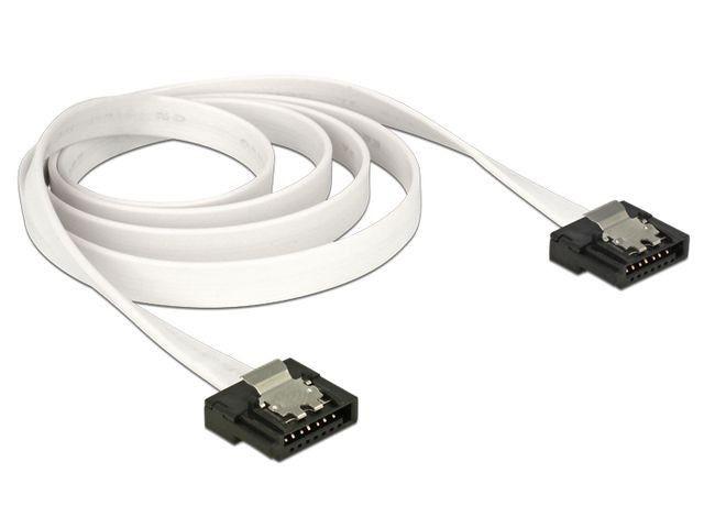 DeLOCK Kabel SATA FLEXI 6 Gb/s o dł. 30 cm, biały, metalowe zaciski