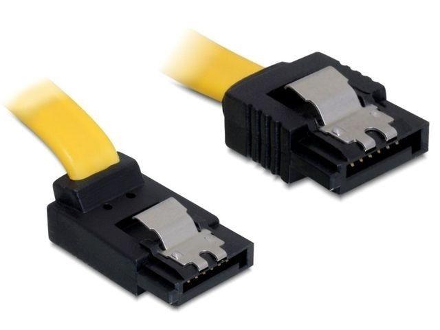 DeLOCK kabel SATA 6 Gb/s kątowy góra/prosty metal. zatrzaski 50cm żółty