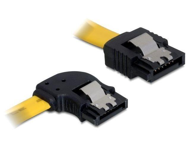 DeLOCK kabel SATA 6 Gb/s kątowy lewo/prosto metal. zatrzaski 70cm żółty