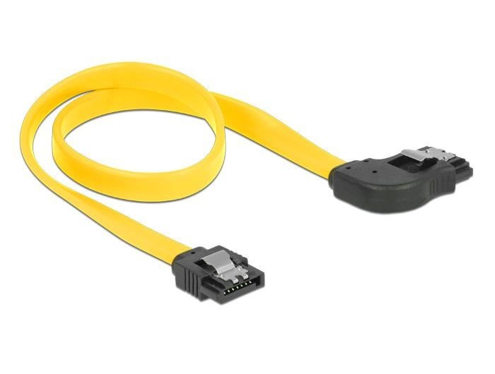 DeLOCK kabel SATA 6 Gb/s kątowy prawo/prosto metal. zatrzaski 70cm żółty