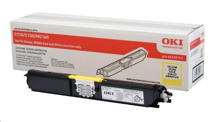 OKI C110, C130 toner cartridge yellow standard capacity 1.500 pages 1-pack