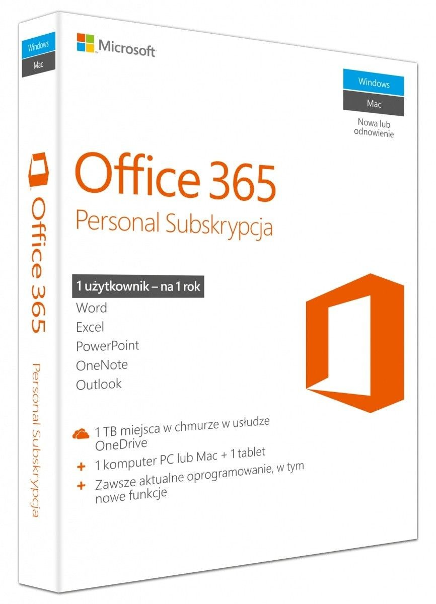 Microsoft Office 365 Personal 32-bit/x64 Polish Subscr 1YR Eurozone Medialess P2