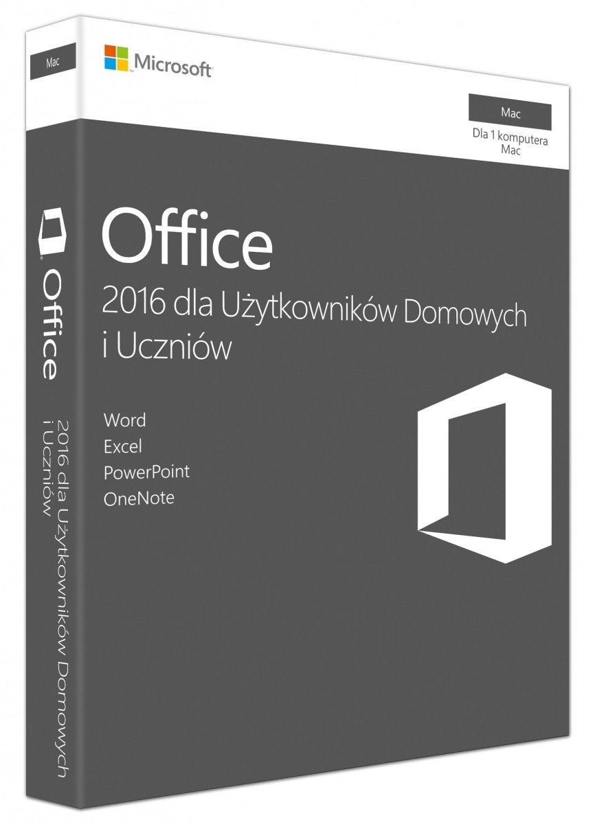 Microsoft Office Mac Home Student 2016 Polish EuroZone Medialess P2