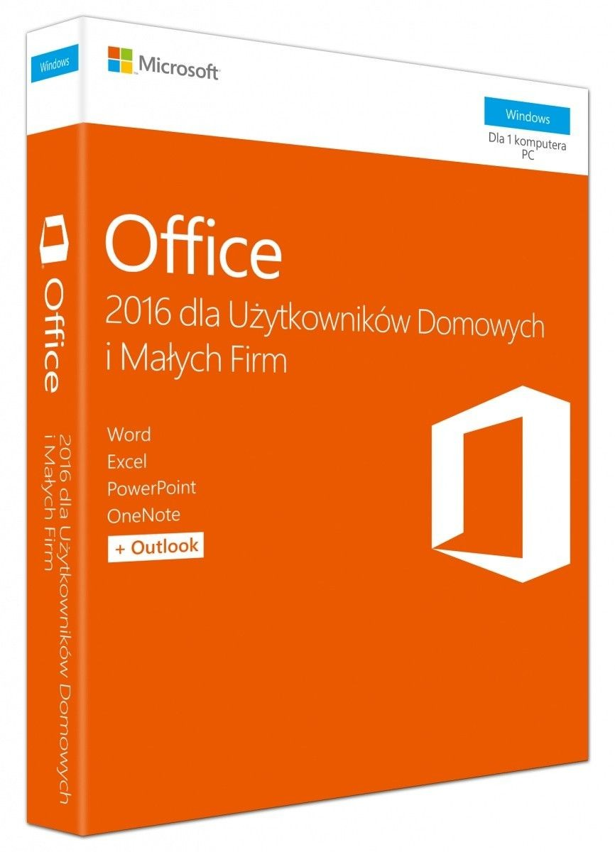 Microsoft Office Home and Business 2016 Win Polish EuroZone Medialess P2