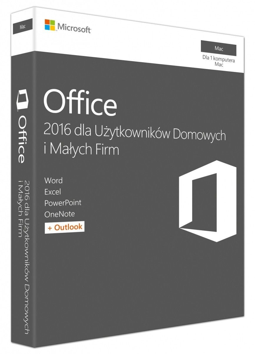 Microsoft Office Mac Home Business 2016 Polish Medialess P2