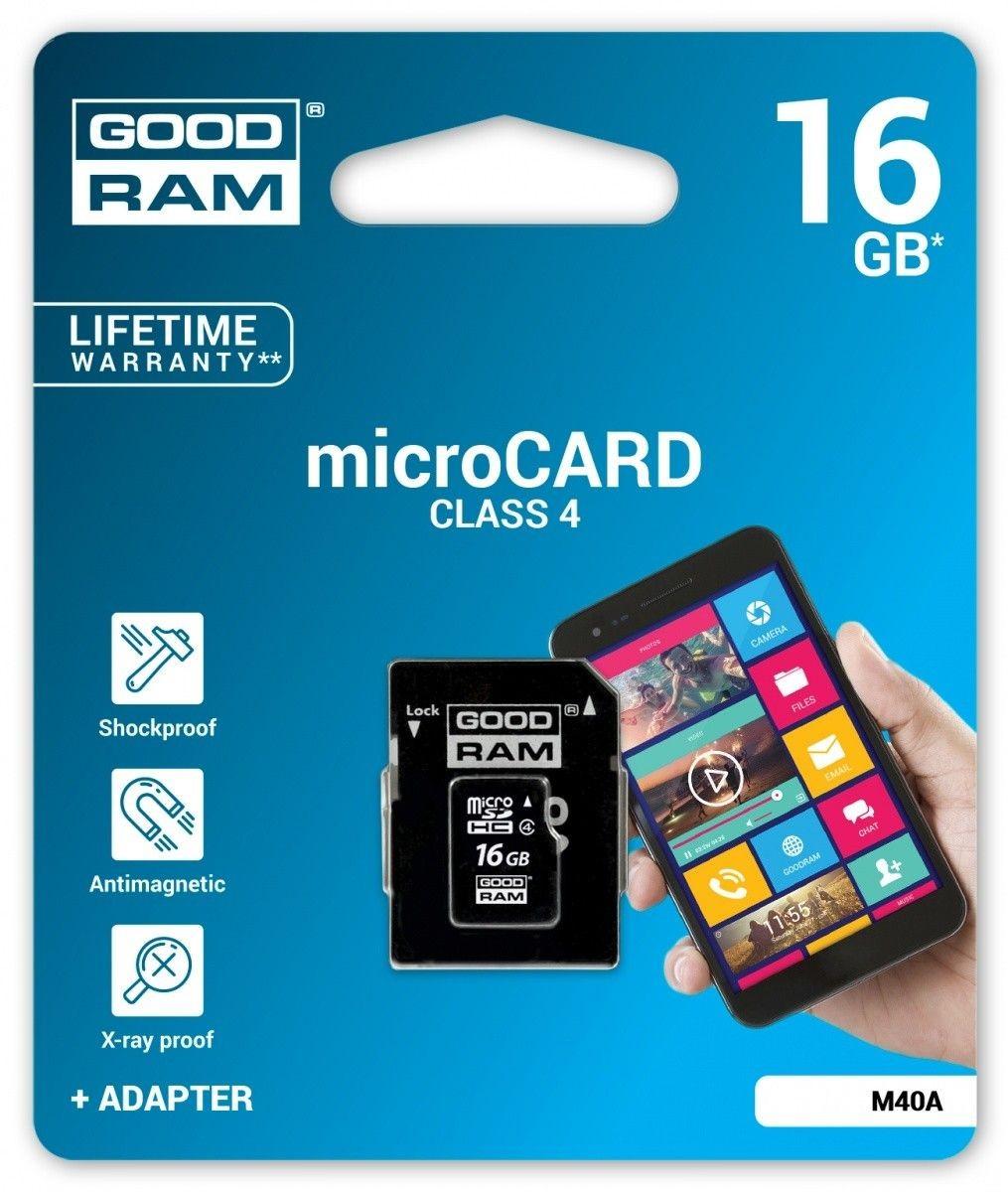 GoodRam microSDHC 16GB CL4 + adapter