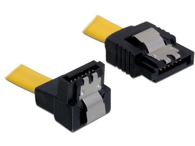 DeLOCK Kabel SATA 6Gb/s 20cm kątowy dół/prosty (metalowe zatrzaski) żółty