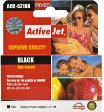 ActiveJet Tusz ActiveJet ACC-521BK | Black | 10 ml | Chip | Canon CLI-521BK
