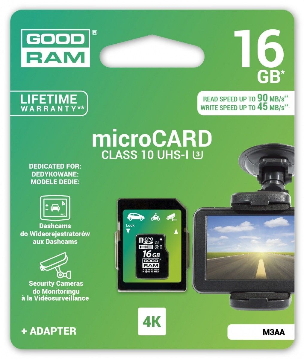 GoodRam microSDXC 16GB Class 10 + adapter 90/45MB/s 4k DEDICATED