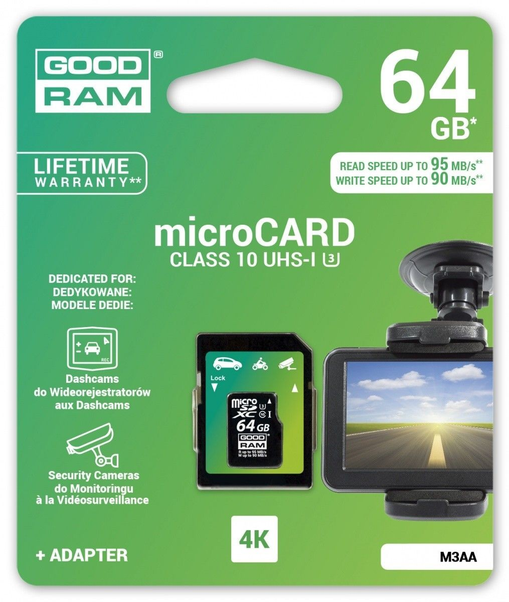 GoodRam microSDHC 64GB MLC U3 UHS I + adapter 95/90 MB/s DEDICATED
