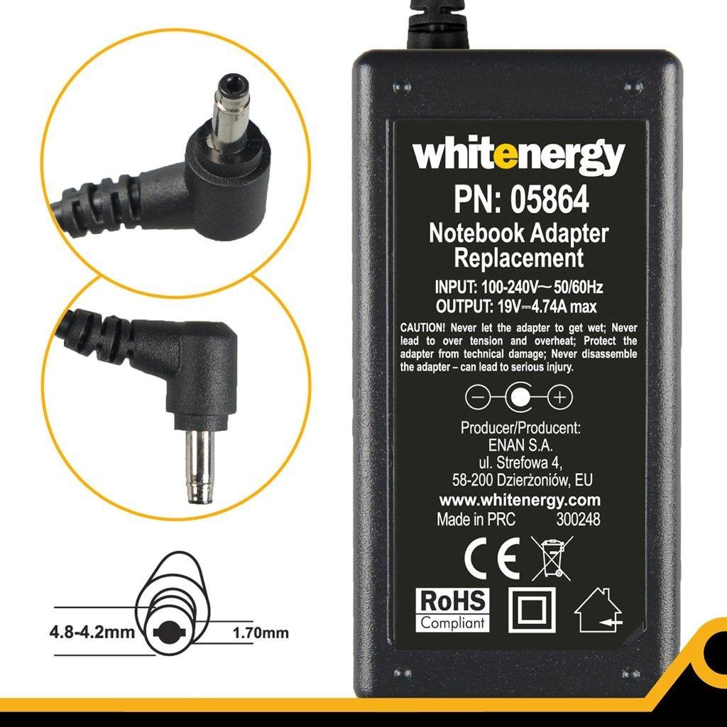 Whitenergy zasilacz 19V/4.74A 90W (wtyczka 4.8-4.2x1.7mm, HP Compaq)