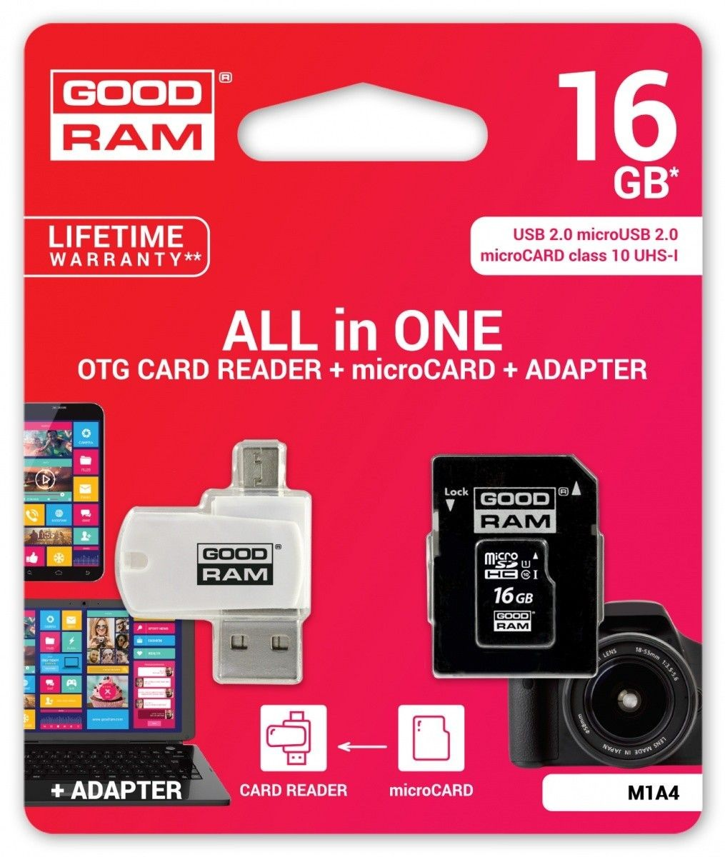 GoodRam microSDHC 16GB CL10 + ADAPTER + CZYTNIK