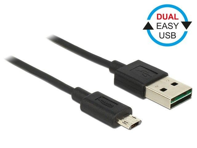 DeLOCK kabel USB 2.0 micro AM-BM Dual Easy-USB 1m black