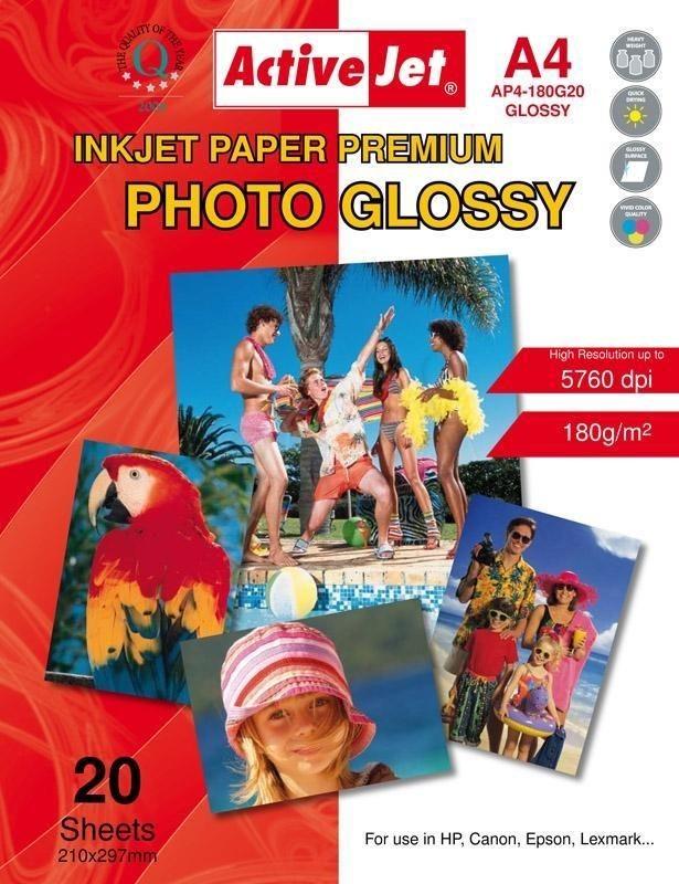 ActiveJet Papier fotograficzny ActiveJet | A4 | Błyszczący | 20 szt. | 180g | AP4-180G20