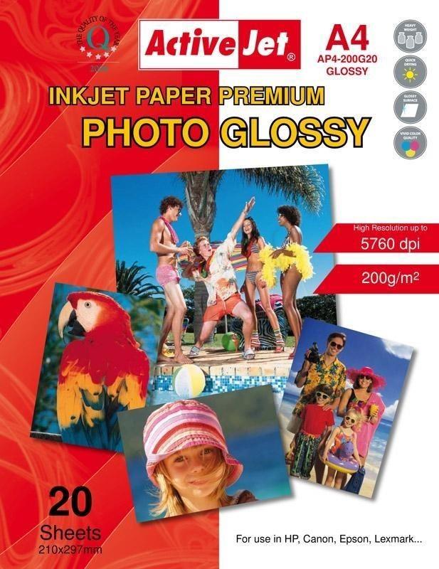 ActiveJet Papier fotograficzny ActiveJet | A4 | Błyszczący | 20 szt. | 200g | AP4-200G20