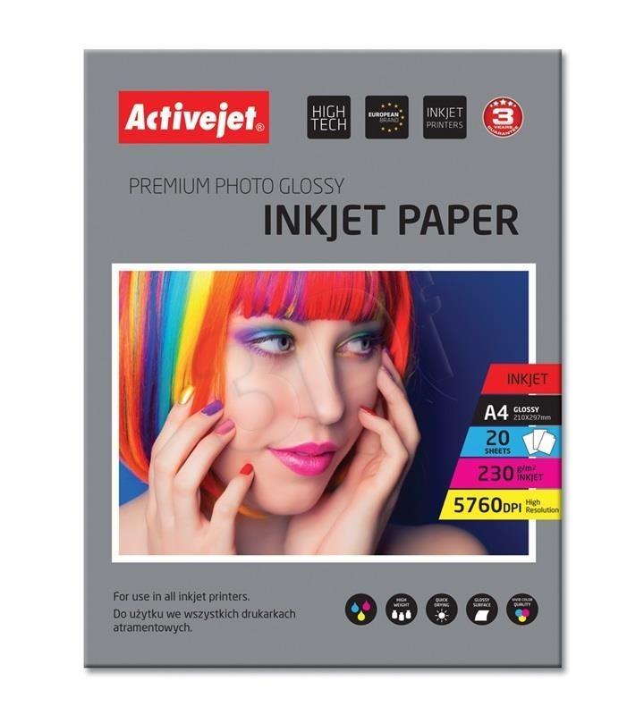 ActiveJet Papier fotograficzny ActiveJet | A4 | Błyszczący | 20 szt. | 230g | AP4-230G20