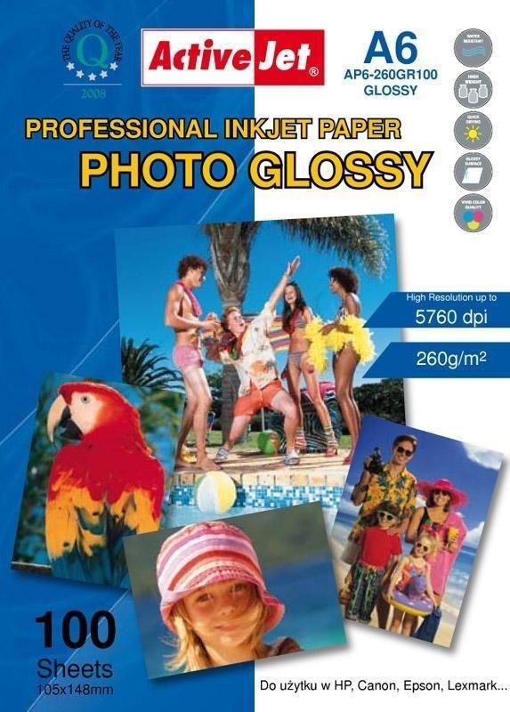 ActiveJet Papier fotograficzny błyszczący A6 100szt. 260g/m2 (z powłoką żywiczną) (do drukarek atramentowych)