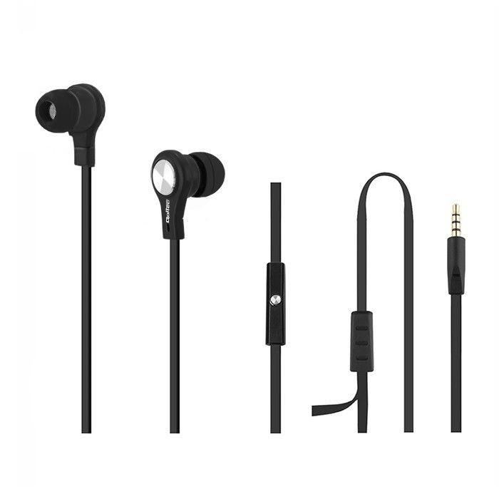 Qoltec Słuchawki douszne + mikrofon | czarne | 1,2m