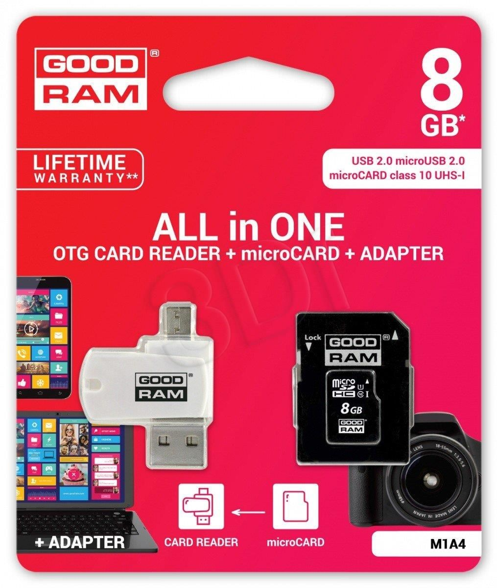 GoodRam Karta pamięci MicroSDHC 8GB All in one - microCARD class 10 UHS I + adapter + OTG card reader USB/microUSB 2.0