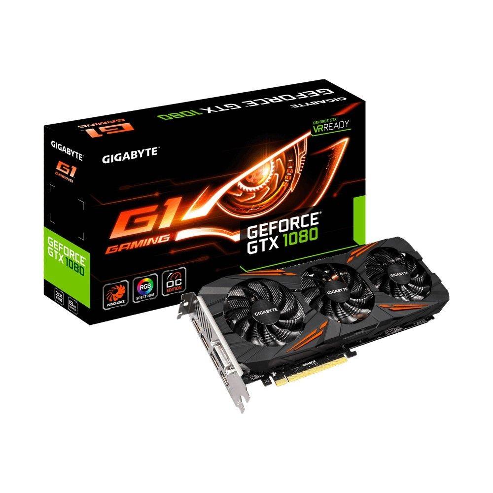 Gigabyte GeForce GTX 1080, 8GB GDDR5X (256 Bit), HDMI, DVI, 3xDP