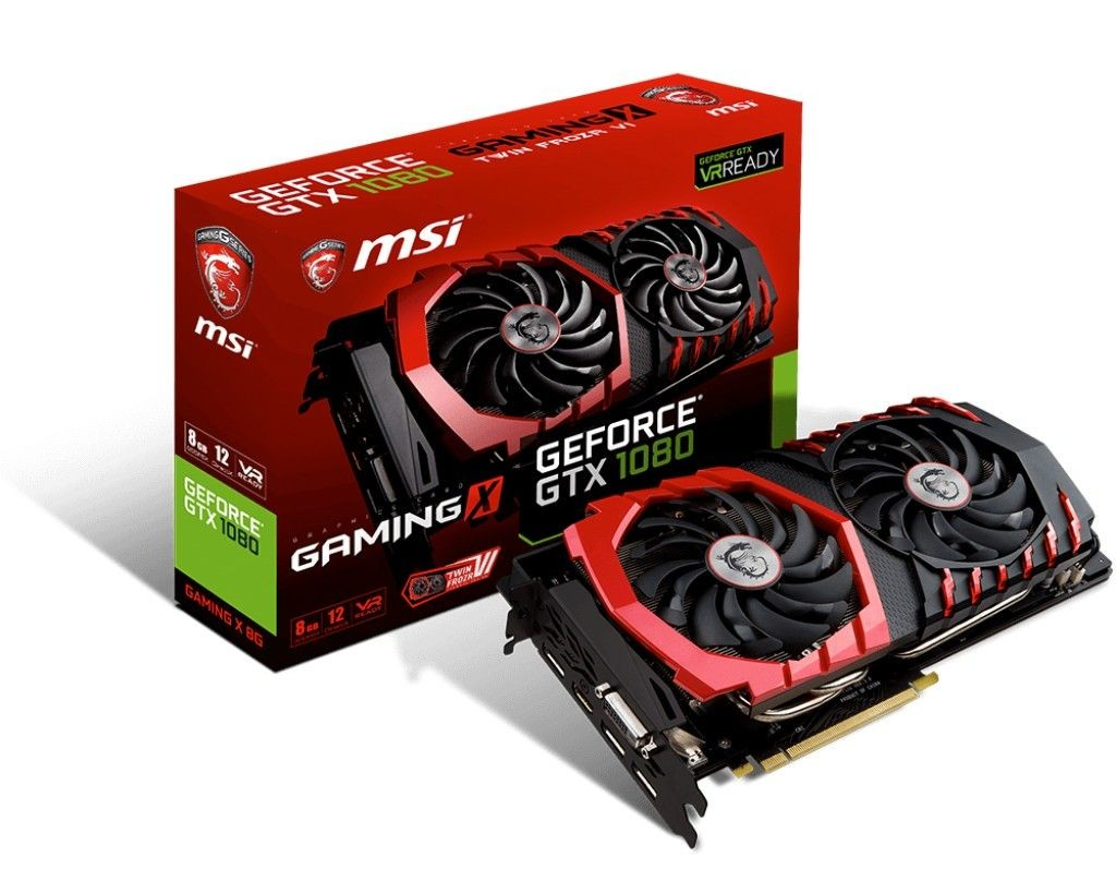 MSI GeForce GTX 1080, 8GB GDDR5X (256 Bit), HDMI, DVI, 3xDP