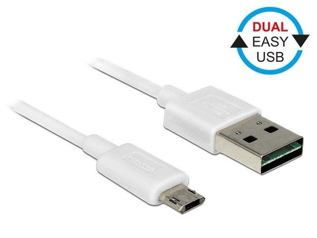 DeLOCK kabel USB 2.0 micro AM-BM Dual Easy-USB 0.5m biały