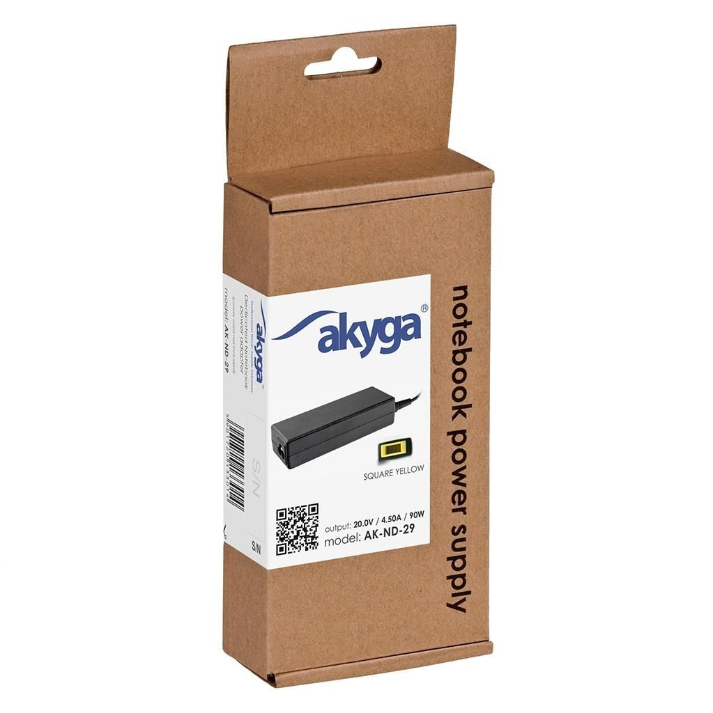 Akyga zasilacz do laptopa AK-ND-29 20V/4.5A 90W Square yellow LENOVO