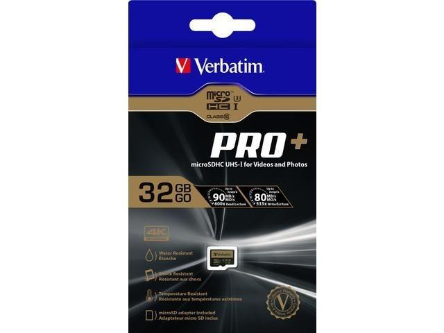 Verbatim Micro SDHC 32GB Class10 UHS-I U3 Pro+ + Adapter