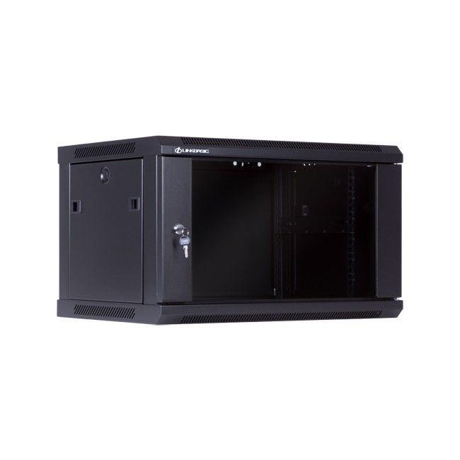 Linkbasic szafa wisząca rack 19'' 6U 600x450mm czarna (drzwi przednie szklane)