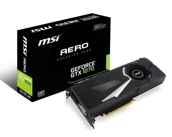 MSI GeForce GTX 1070 OC, 8GB GDDR5 (256 Bit), HDMI, DVI, 3xDP