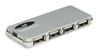 Manhattan hub USB 2.0 4-portowy Slim + zasilacz