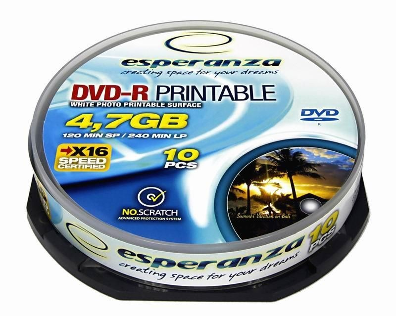 Esperanza DVD-R [ cakebox 10 | 4,7GB | 16x | do nadruku ]