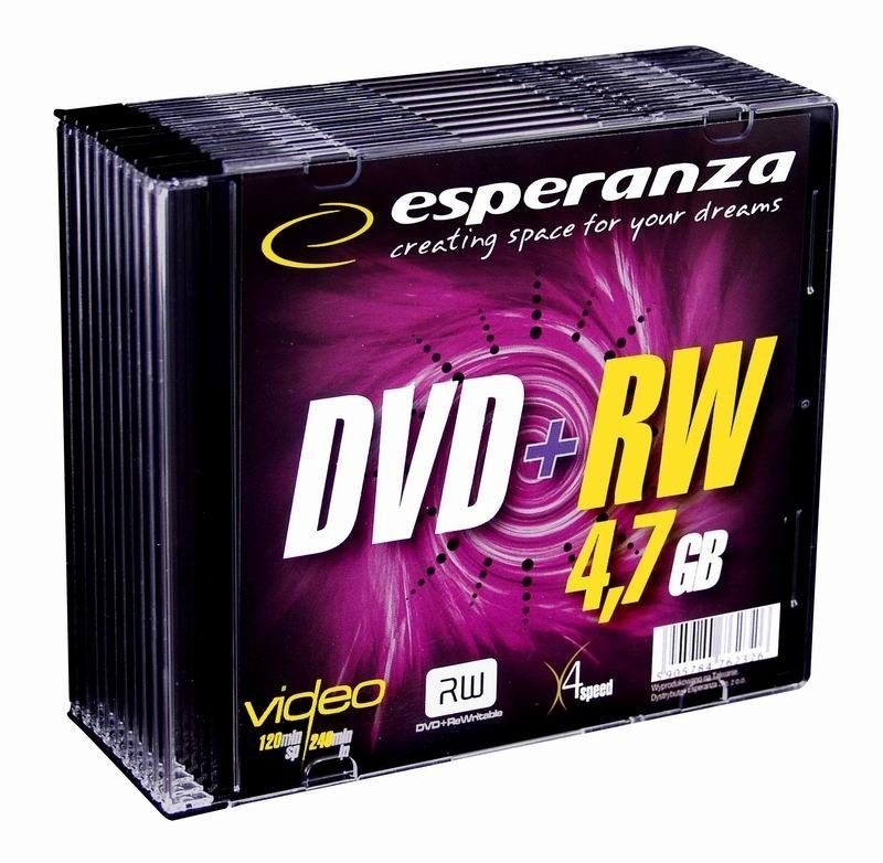 Esperanza DVD+RW 4,7GB x4 - Slim 10