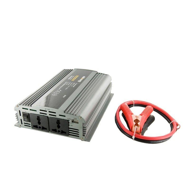 Whitenergy przetwornica AC/DC 12V (samochód) na 230V 1000W (2 gniazda)