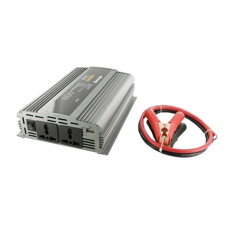 Whitenergy przetwornica AC/DC 24V (samochód) na 230V 1000W (2 gniazda)