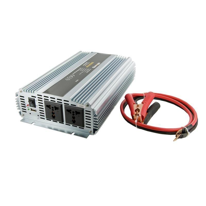 Whitenergy przetwornica AC/DC 24V (samochód) na 230V 1500W (2 gniazda)