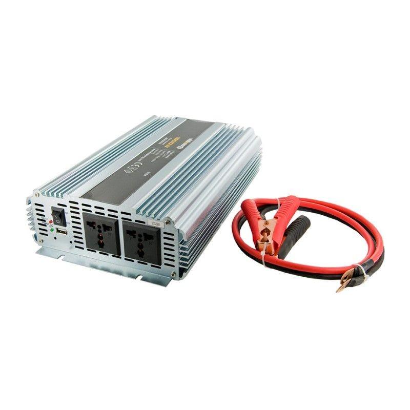Whitenergy Przetwornica AC/DC 24V (samochód) na 230V, 2000W mocy, 2 gniazda