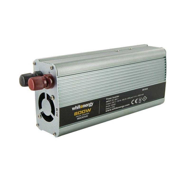 Whitenergy przetwornica AC/DC 24V (samochód) na 230V 800W (USB)
