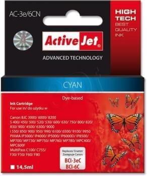 ActiveJet Tusz ActiveJet AC-3e/6CN | Cyan | 15,5 ml | Canon BCI-3eC,BCI-6C