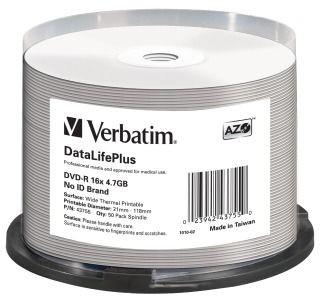 Verbatim DVD-R 4.7GB 16x Wide Thermo Printable Non-Id (szpindel, 50szt)
