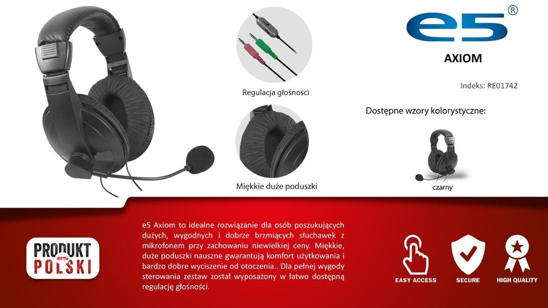 E5 Słuchawki z mikrofonem e5 Axiom
