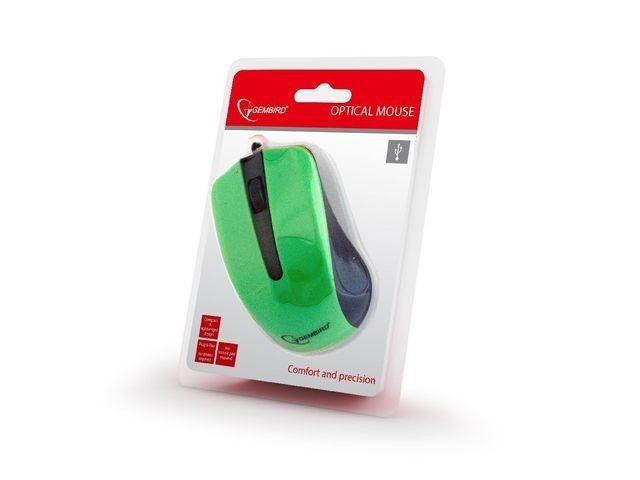 Gembird mysz optyczna USB, 1200 DPI, USB, czarno-zielona