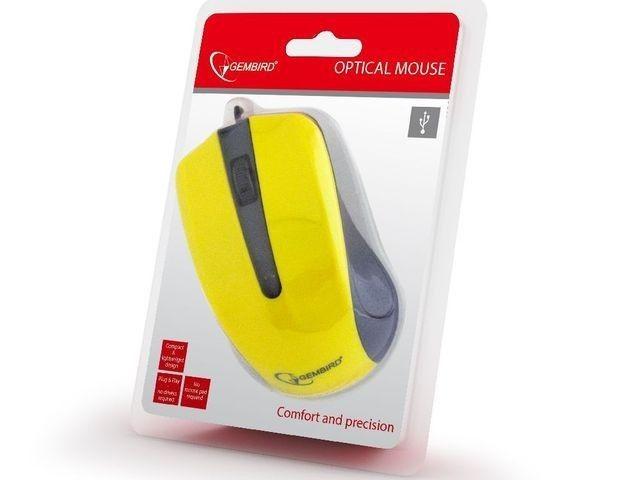 Gembird mysz optyczna USB, 1200 DPI, USB, czarno-żółta