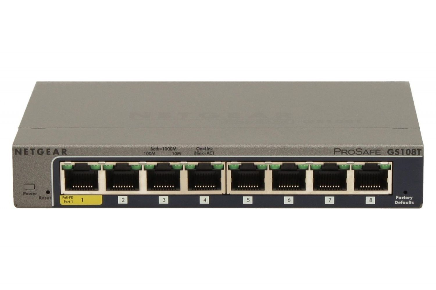 Netgear ProSafe Smart 8-Port Gigabit Switch Metal 1xPoE PD (GS108T v2)