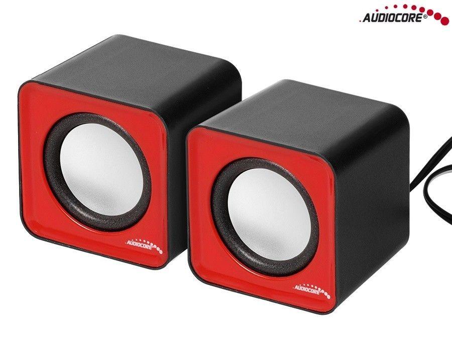 Audiocore AC870R Głośniki komputerowe 6W USB Czerwono-Czarne