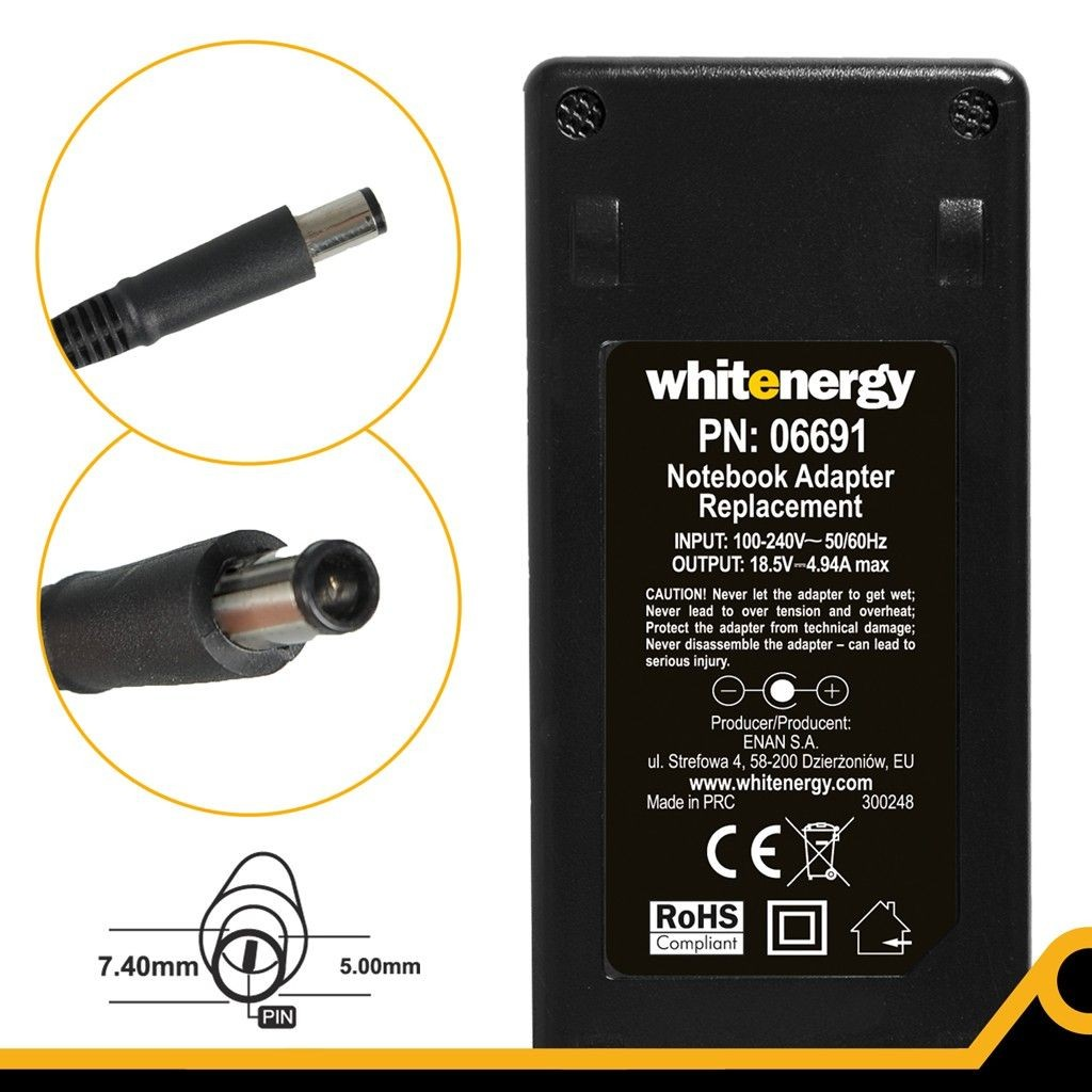 Whitenergy zasilacz 18.5V/4.9A 90W (wtyczka 7.4x5.0mm + pin HP)