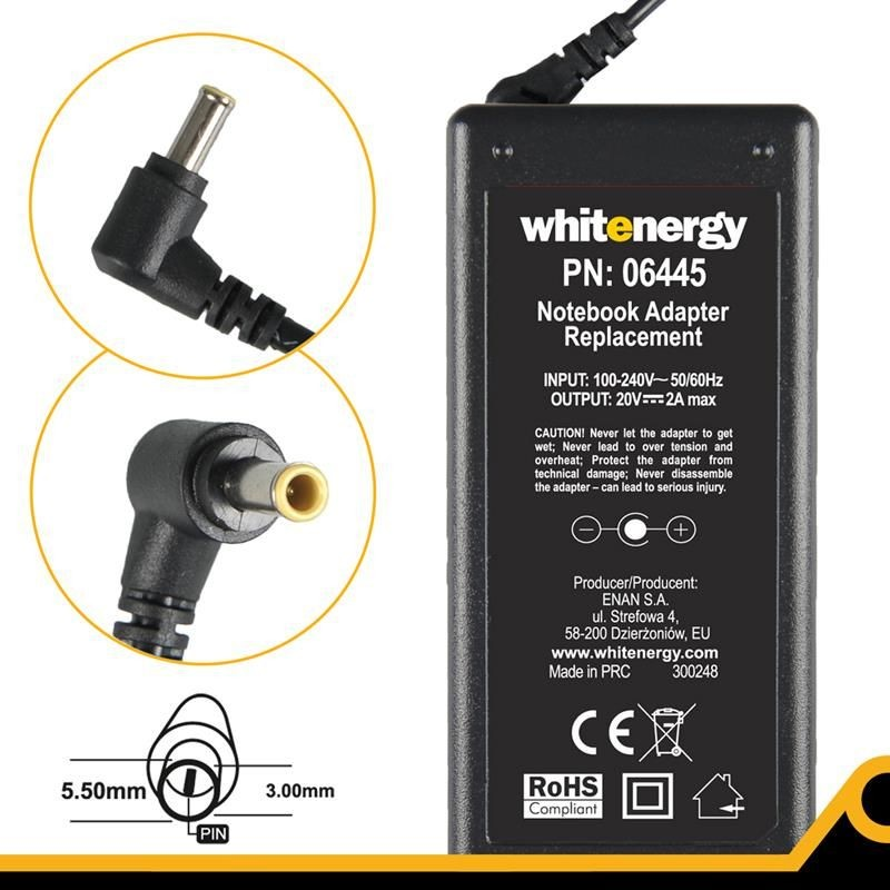 Whitenergy zasilacz 20V/2A 40W (wtyczka 5.5x3.0mm + pin Samsung)